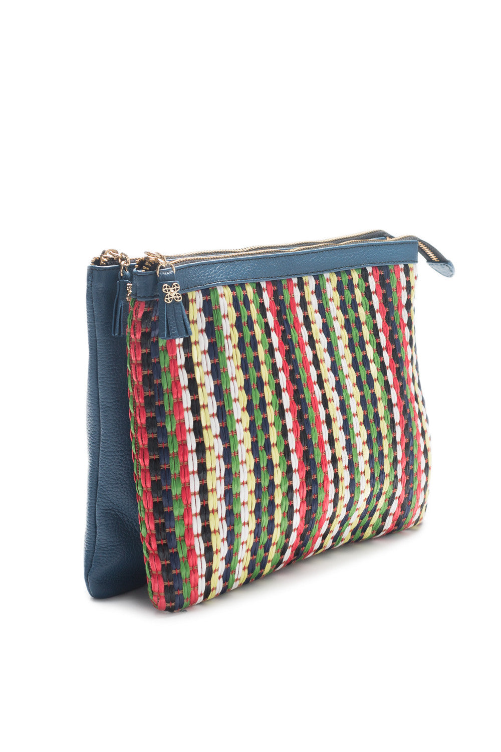 Mel Boteri | Multicolor Raffia and Denim Leather 'Abbey' Clutch | Side View