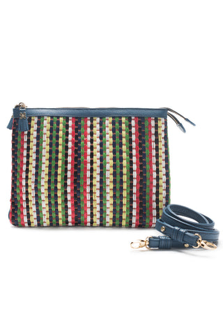 Mel Boteri | Multicolor Raffia and Denim Leather 'Abbey' Clutch | Strap View