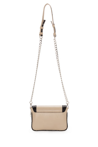 'Amber' Small Shoulder Bag in Taupe And Black Leather | Mel Boteri | Back View With Chain Strap