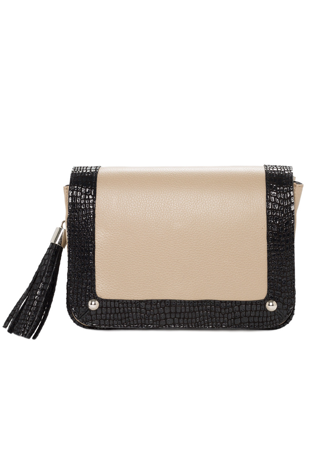 'Amber' Small Shoulder Bag in Taupe And Black Leather | Mel Boteri | Front View