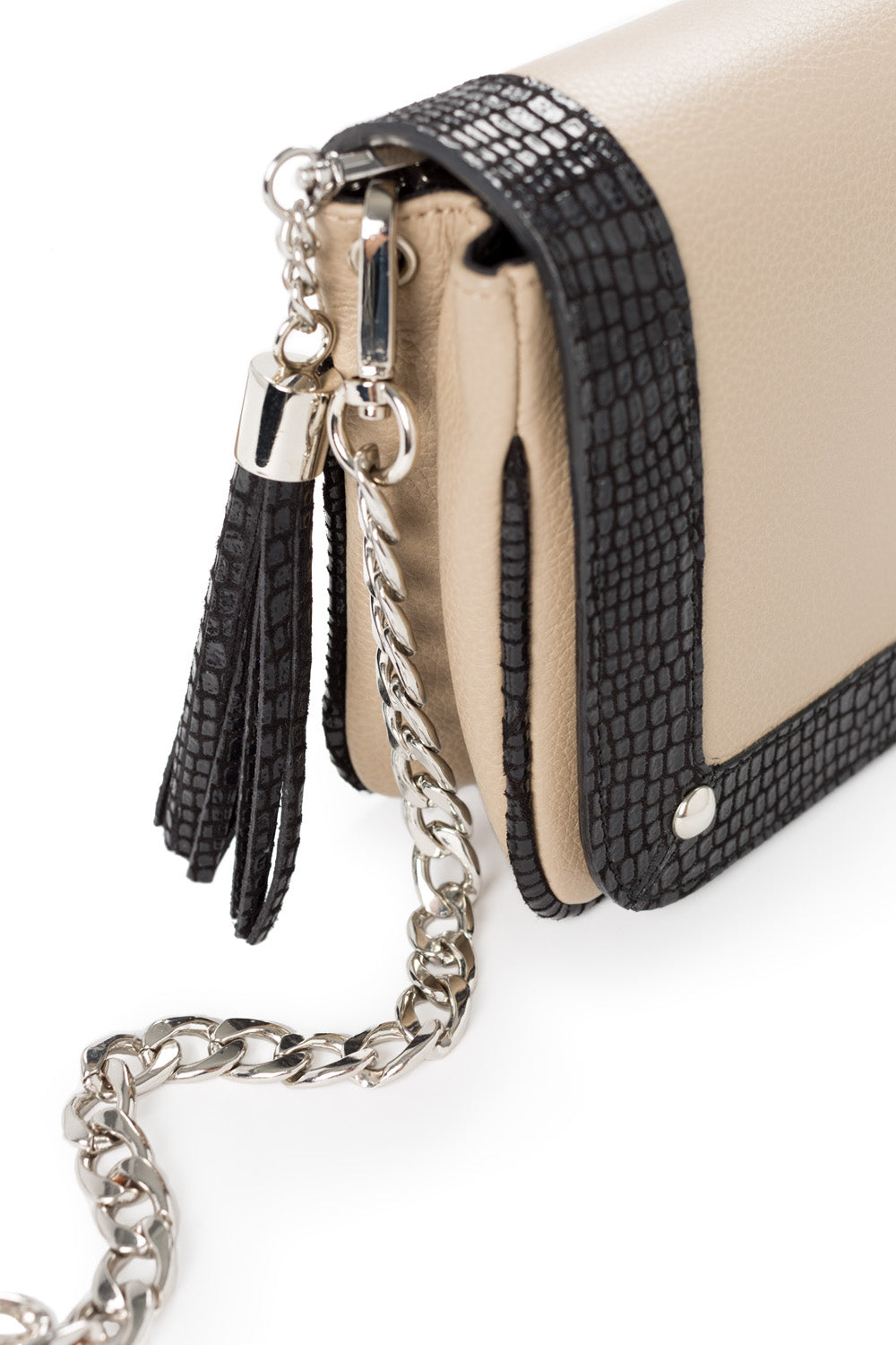 'Amber' Small Shoulder Bag in Taupe And Black Leather | Mel Boteri | Detail View