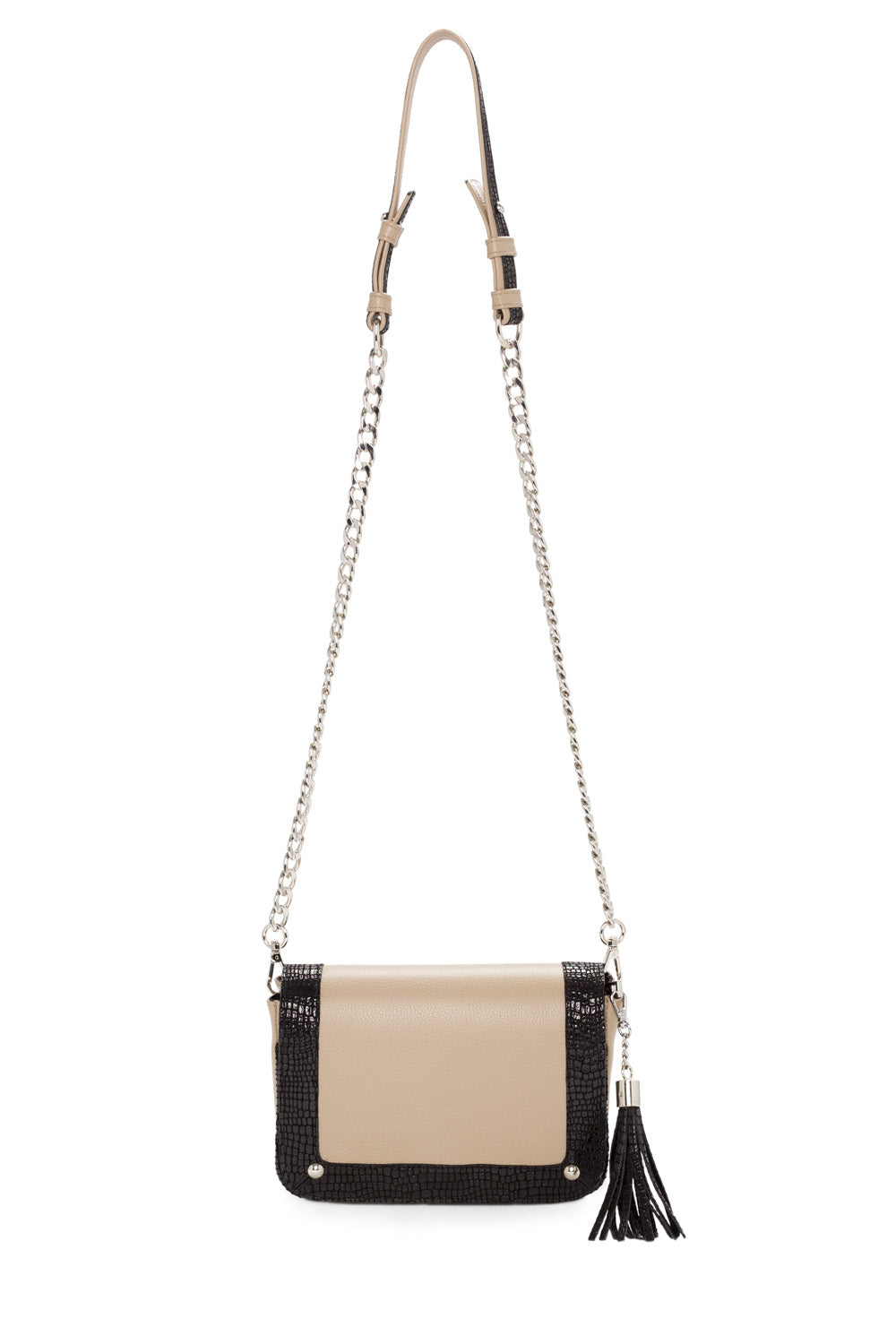 'Amber' Small Shoulder Bag in Taupe And Black Leather | Mel Boteri | Front View With Chain Strap