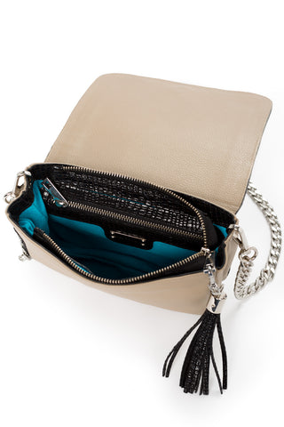 'Amber' Small Shoulder Bag in Taupe And Black Leather | Mel Boteri | Signature Turquoise Suede Lining