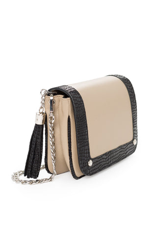 'Amber' Small Shoulder Bag in Taupe And Black Leather | Mel Boteri | Side View