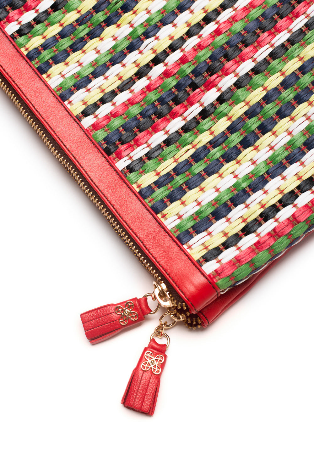 Mel Boteri | Multicolor Raffia and Red Leather 'Abbey' Clutch | Detail Shot