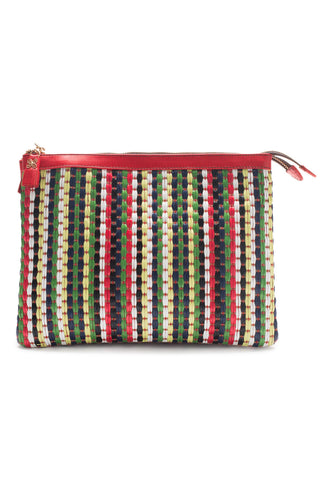 Mel Boteri | Multicolor Raffia and Red Leather 'Abbey' Clutch | Front View