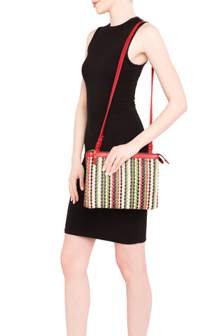 Mel Boteri | Multicolor Raffia and Red Leather 'Abbey' Clutch | Worn With Shoulder Strap