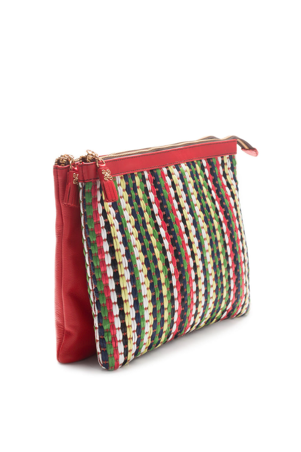 Mel Boteri | Multicolor Raffia and Red Leather 'Abbey' Clutch | Side View