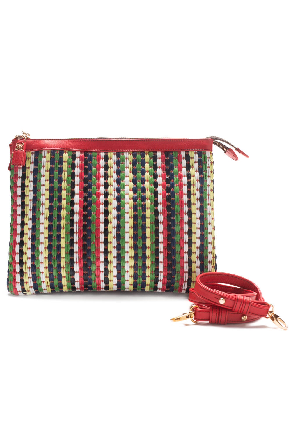Mel Boteri | Multicolor Raffia and Red Leather 'Abbey' Clutch | With Shoulder Strap