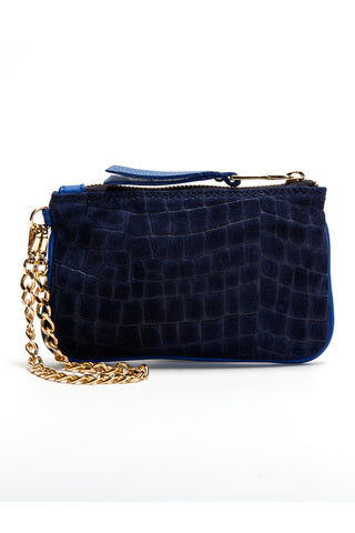Midnight Blue Croc-Embossed 'Walsh' Suede Leather Pouch Back Mel Boteri