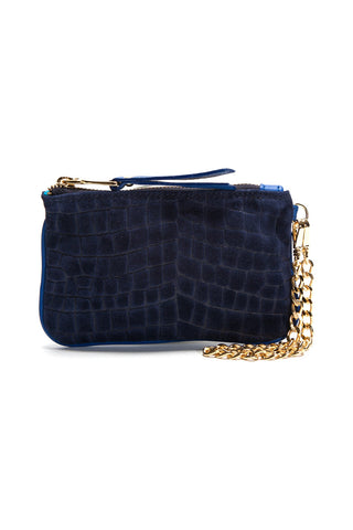 Midnight Blue Croc-Embossed 'Walsh' Suede Leather Pouch Front Mel Boteri