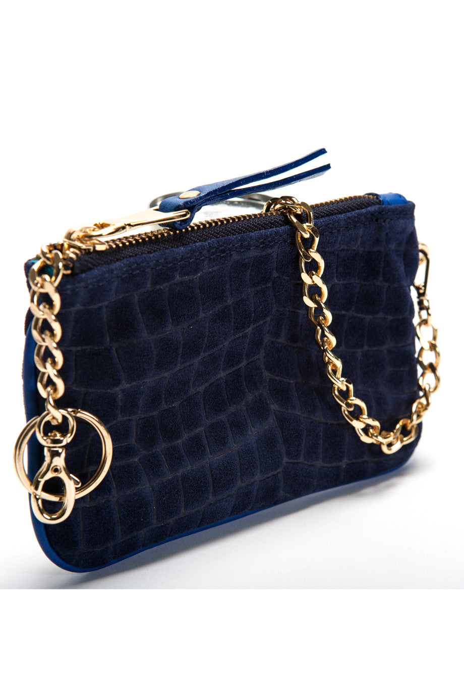 Midnight Blue Croc-Embossed 'Walsh' Suede Leather Pouch Side Mel Boteri