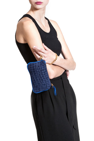 Midnight Blue Croc-Embossed 'Walsh' Suede Leather Pouch