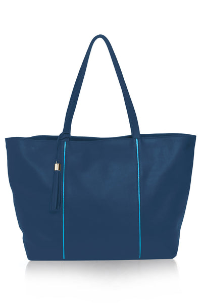 Customize The Kat Tote | Mel Boteri | Navy Fine Grain Leather
