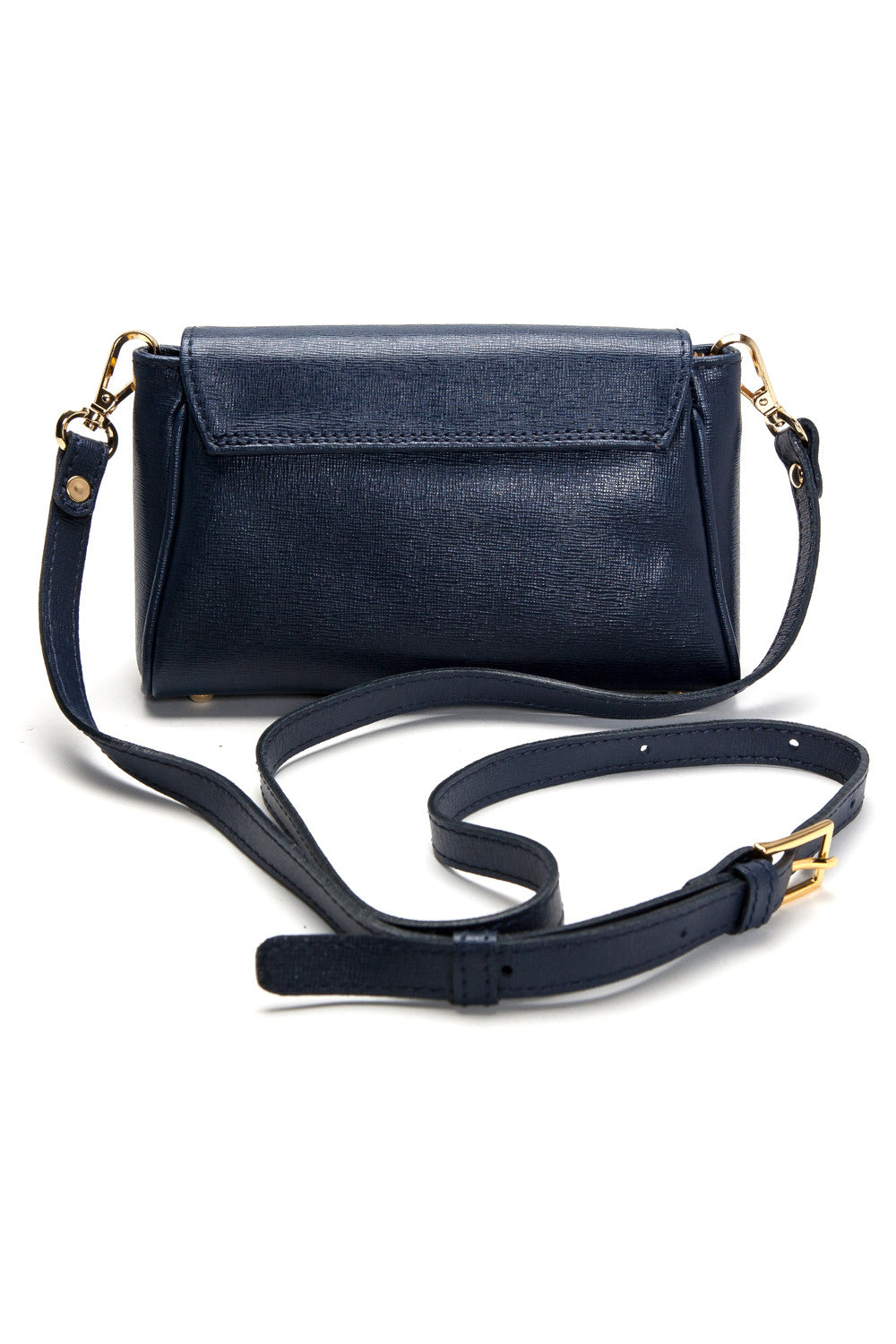 'Emmy' Navy Saffiano Leather Convertible Clutch | Back With Strap View| Mel Boteri Handbags