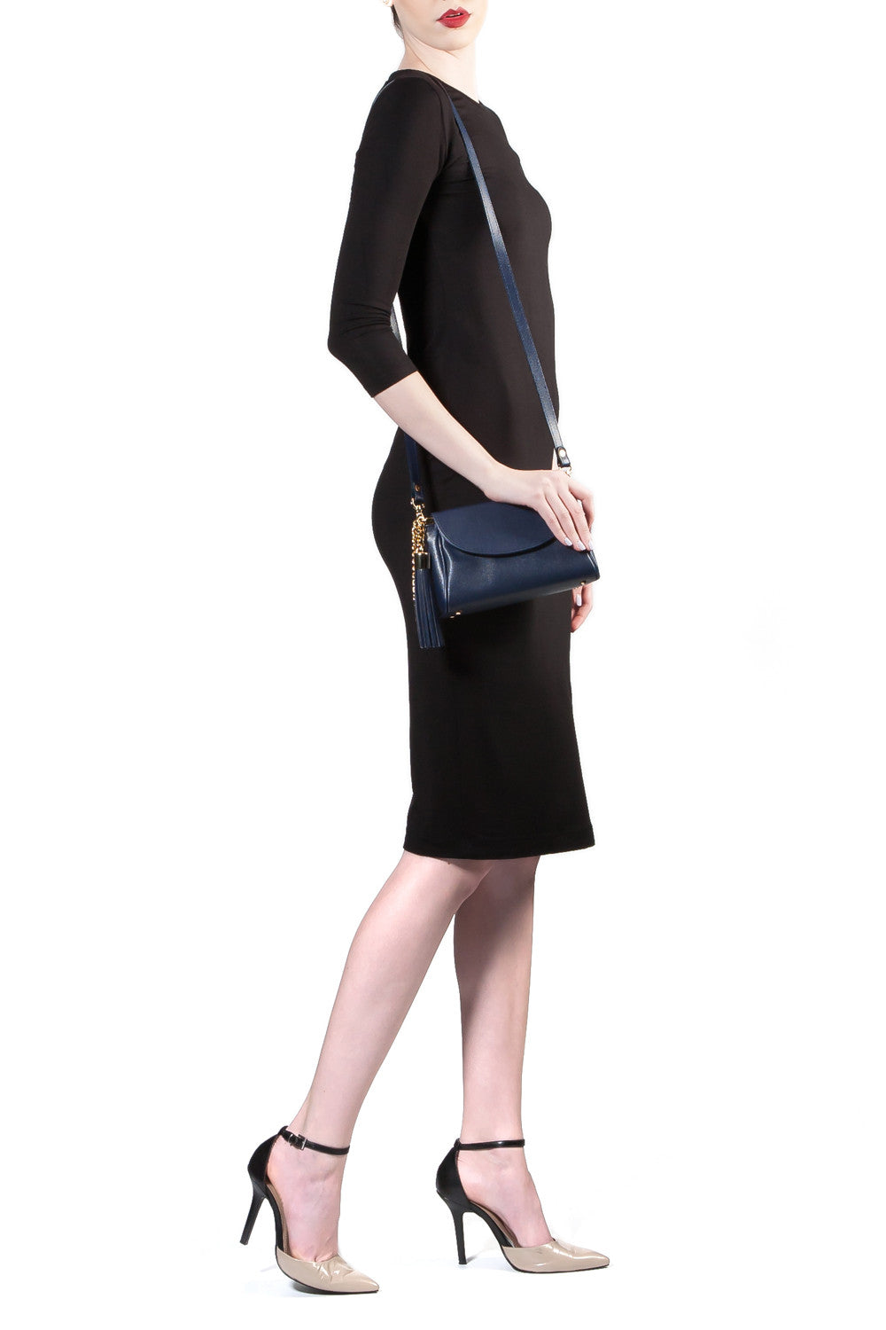 'Emmy' Navy Saffiano Leather Convertible Clutch | Model Strap View| Mel Boteri Handbags