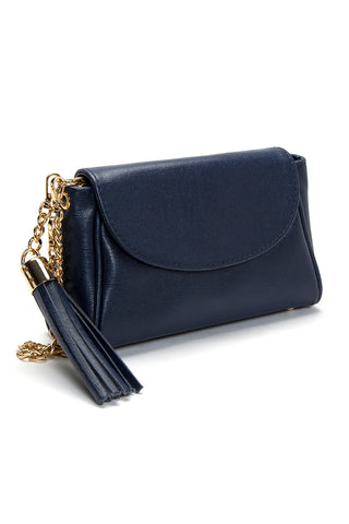 'Emmy' Navy Saffiano Leather Convertible Clutch | Side View| Mel Boteri Handbags