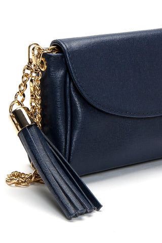 'Emmy' Navy Saffiano Leather Convertible Clutch | Detail View| Mel Boteri Handbags