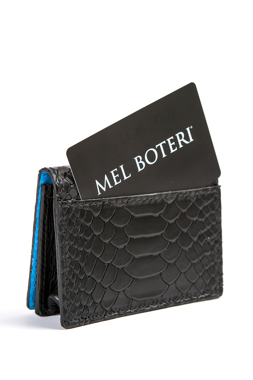 Mel Boteri | 'Nice To Meet You' Cardholder | Black Snake Print Leather | Back Pocket