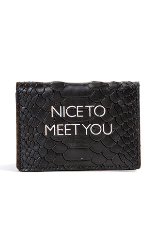 Mel Boteri | 'Nice To Meet You' Cardholder | Black Snake Print Leather | Front