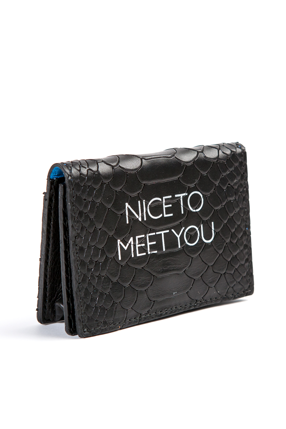 Mel Boteri | 'Nice To Meet You' Cardholder | Black Snake Print Leather | Side