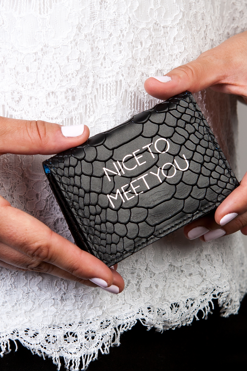 Mel Boteri | 'Nice To Meet You' Cardholder | Black Snake Print Leather | Model