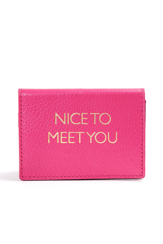Mel Boteri | 'Nice To Meet You' Cardholder | Magenta Leather | Front