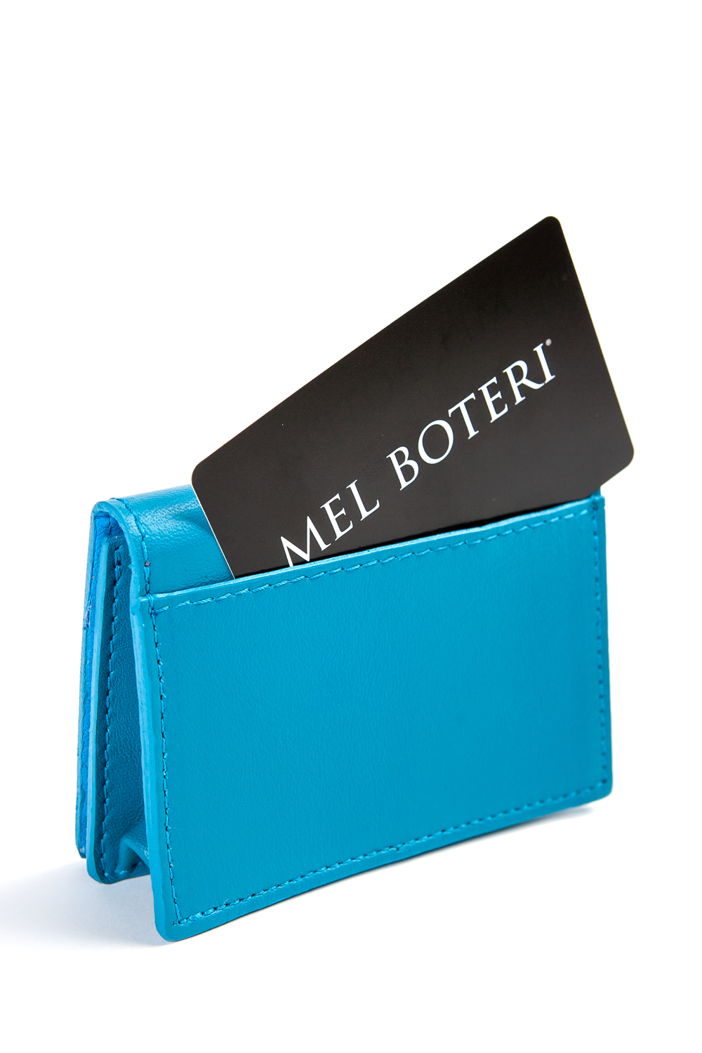 Mel Boteri | 'Nice To Meet You' Cardholder | Turquoise Leather | Back Pocket