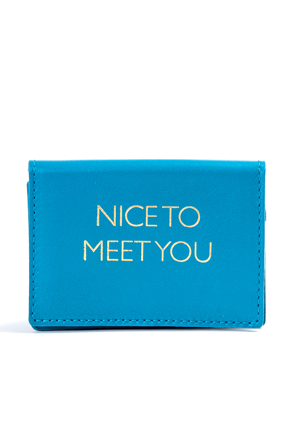 Mel Boteri | 'Nice To Meet You' Cardholder | Turquoise Leather | Front