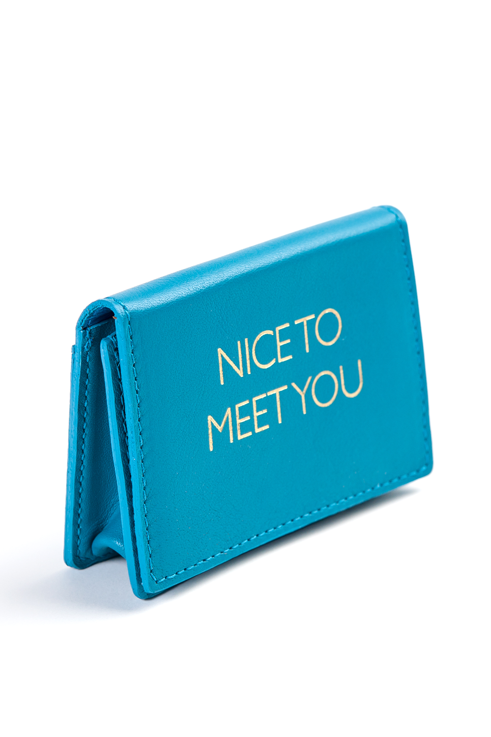 Mel Boteri | 'Nice To Meet You' Cardholder | Turquoise Leather | Side