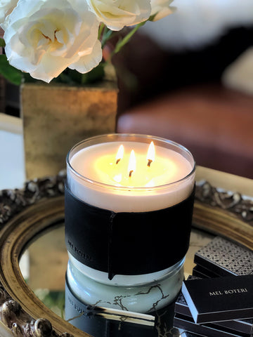 Oud & Bergamot Scented Candle | Mel Boteri Home Collection | Model View
