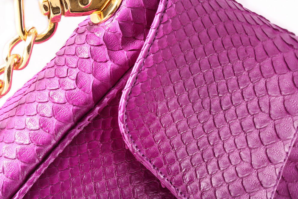 Magenta 'Coco' Small Shoulder Bag - Python | Mel Boteri | Detail View