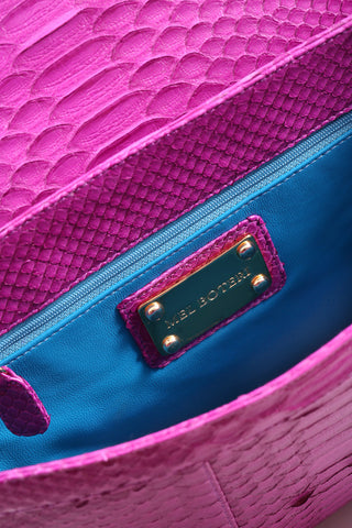 Magenta 'Coco' Small Shoulder Bag - Python | Mel Boteri | Interior View