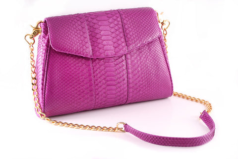 Magenta 'Coco' Small Shoulder Bag - Python | Mel Boteri | Side View