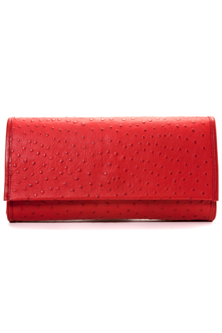 'Cara' Envelope Clutch in Red Ostrich Print Leather | Mel Boteri | Front View
