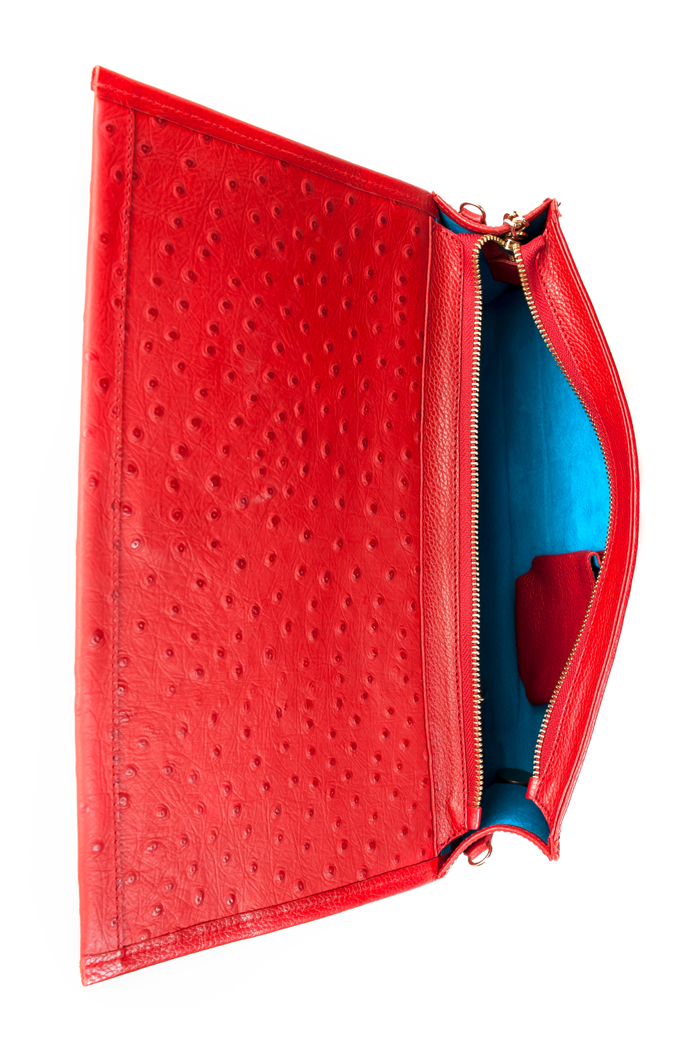 'Cara' Envelope Clutch in Red Ostrich Print Leather | Mel Boteri | Interior View