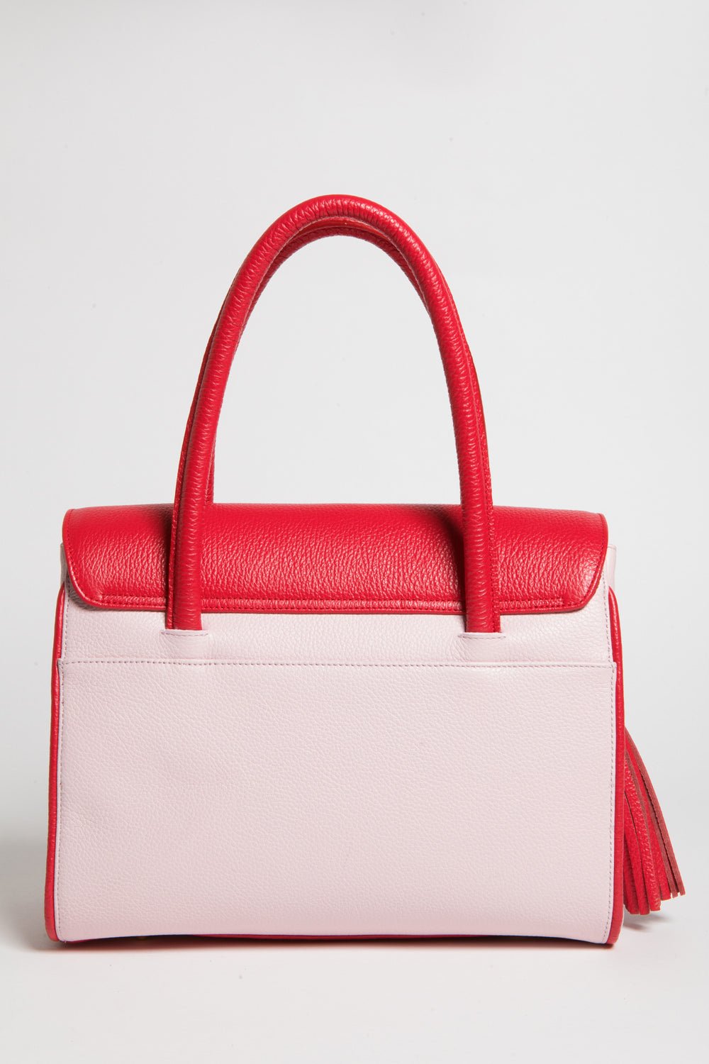 Red Rose Color-Block Leather Christy Mini Tote | Back View | Mel Boteri