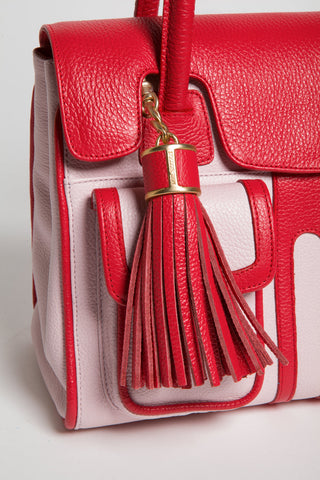 Red Rose Color-Block Leather Christy Mini Tote | Tassel Detail View | Mel Boteri