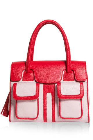 Red Rose Color-Block Leather Christy Mini Tote | Front View | Mel Boteri