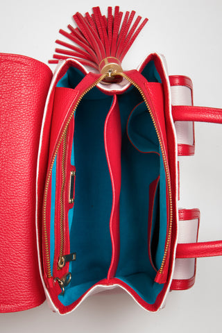 Red Rose Color-Block Leather Christy Mini Tote | Turquoise Suede Lining View | Mel Boteri