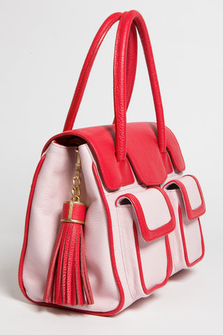 Red Rose Color-Block Leather Christy Mini Tote | Side View | Mel Boteri