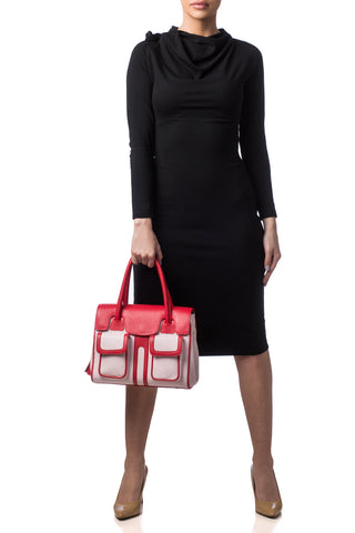 Red Rose Color-Block Leather Christy Mini Tote | On Body View | Mel Boteri