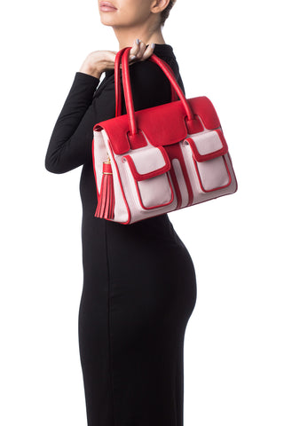 Red Rose Color-Block Leather Christy Mini Tote | Model View | Mel Boteri