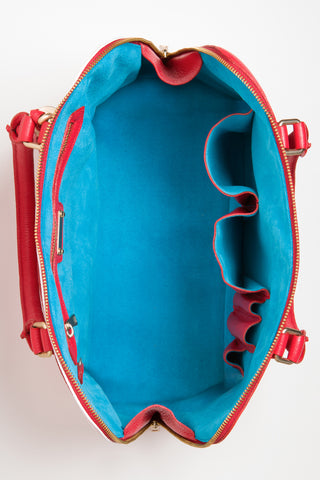 Red Rose Watson Tote | Turquoise Suede Lining View | Mel Boteri