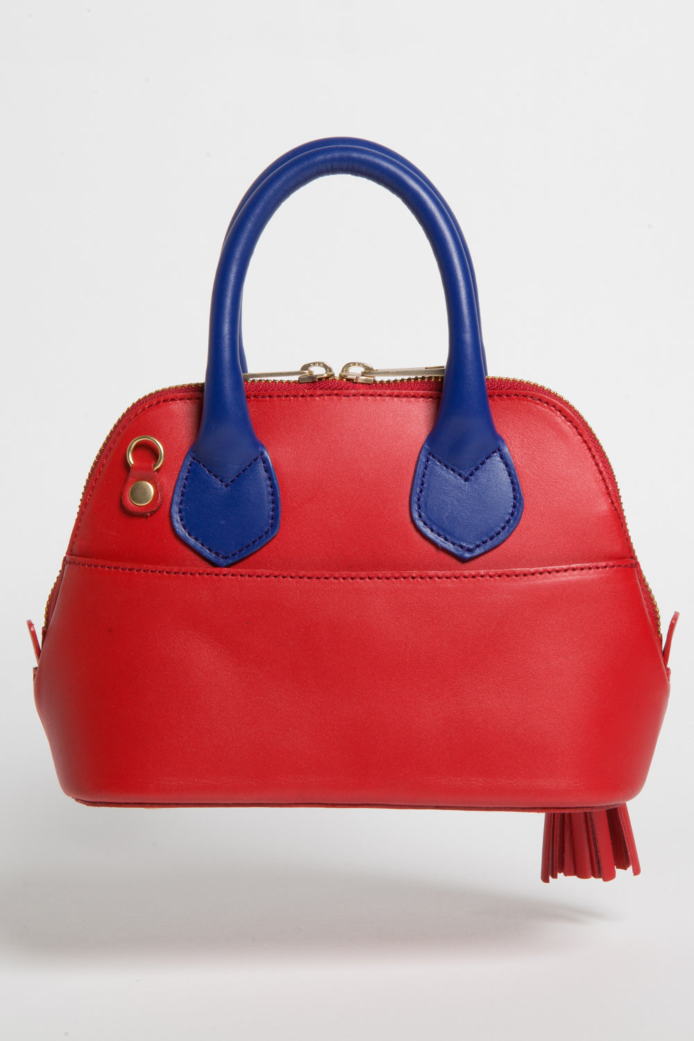 Red & Cobalt Blue Smooth Leather 'Watson Micro' Tote | Mel Boteri | Back Slip Pocket View