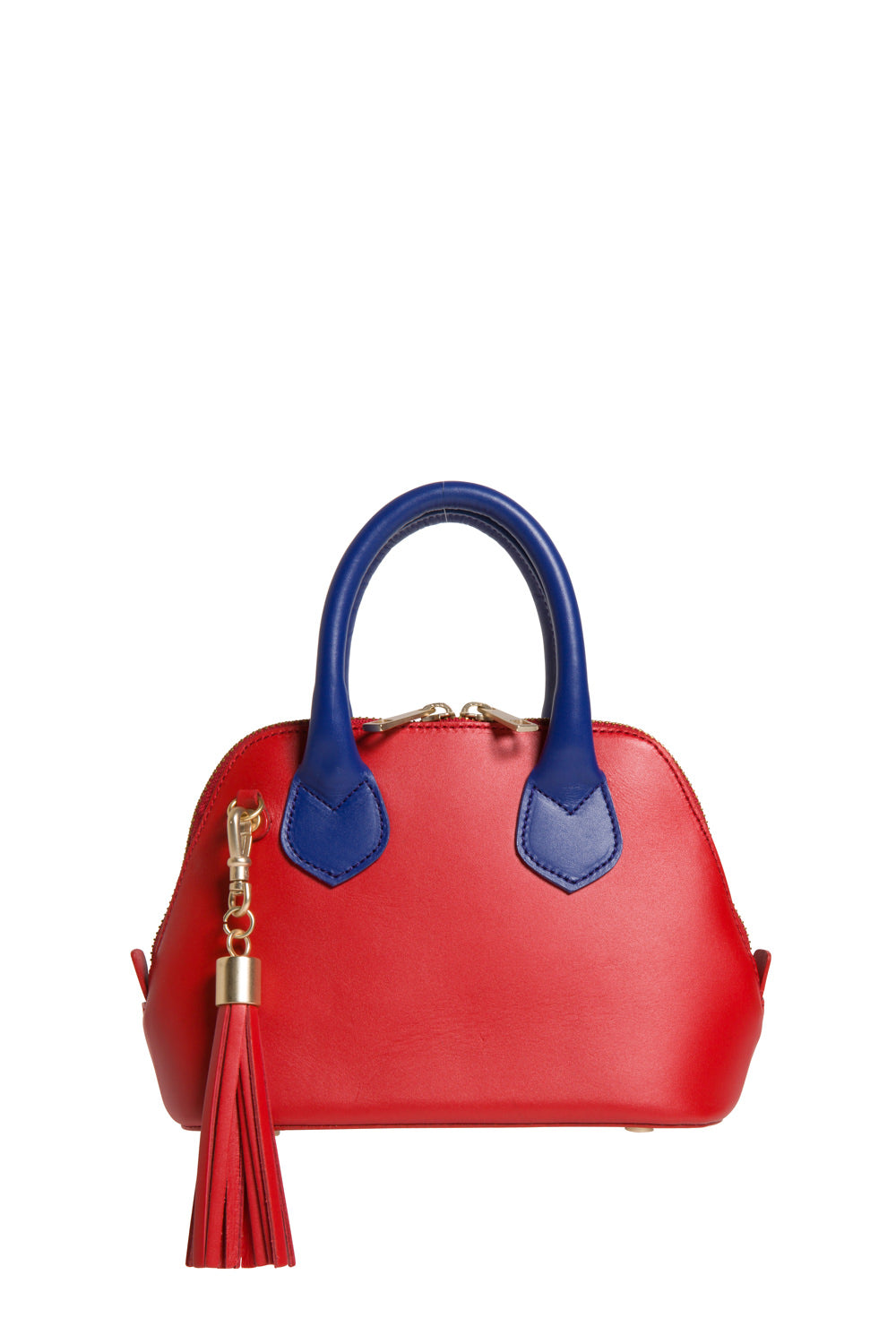 Red & Cobalt Blue Smooth Leather 'Watson Micro' Tote | Mel Boteri | Front View