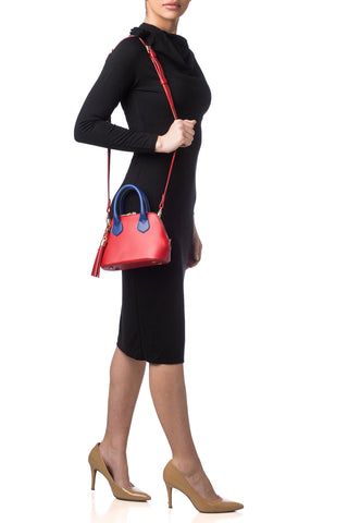 Red & Cobalt Blue Smooth Leather 'Watson Micro' Tote | Mel Boteri | On Body View