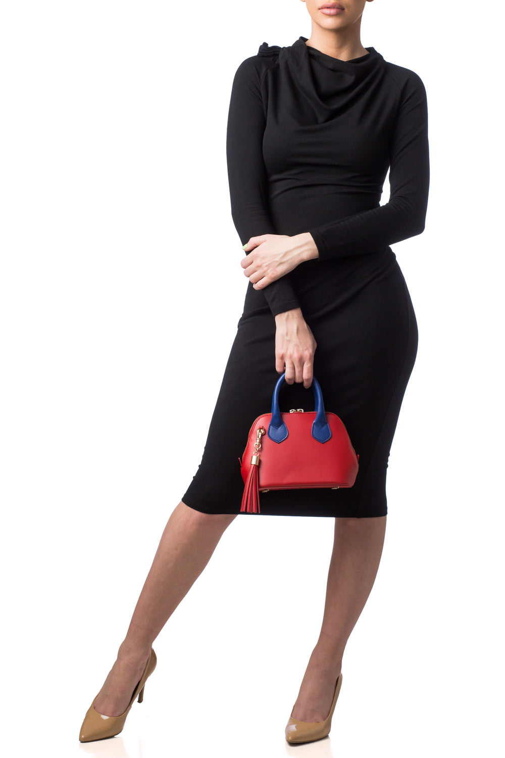 Red & Cobalt Blue Smooth Leather 'Watson Micro' Tote | Mel Boteri | Model View
