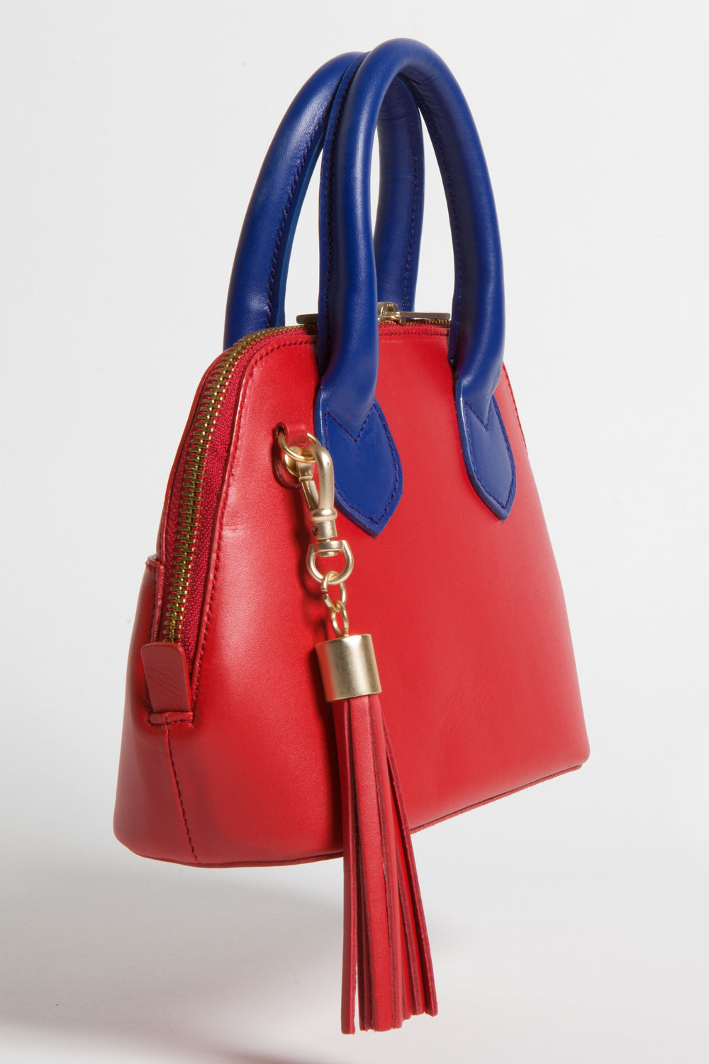 Red & Cobalt Blue Smooth Leather 'Watson Micro' Tote | Mel Boteri | Side View