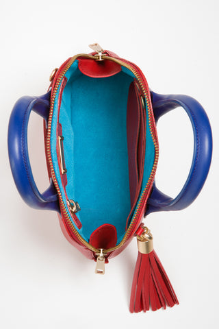Red & Cobalt Blue Smooth Leather 'Watson Micro' Tote | Mel Boteri | Turquoise Suede Lining View